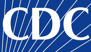 CDC Logo: Text - CDC in front of a blue background with white horizontal stripes going across the blue background.