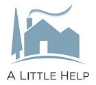 A Little Help LOGO - Light blue house on a light blue hill with a light blue door with smoke coming from chimney
