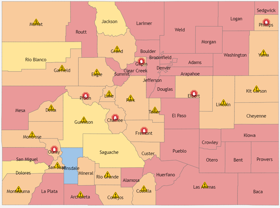This map shows where all of the counties in Colorado are on the Status Dial. (Please use the description below to access the map for more information)