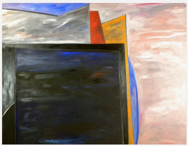 A painting painted in the style of cubism, a black box is center left, a grey shape is behind with a red and yellow line and a blue shape fills up negative space with a pink rectangle on the side