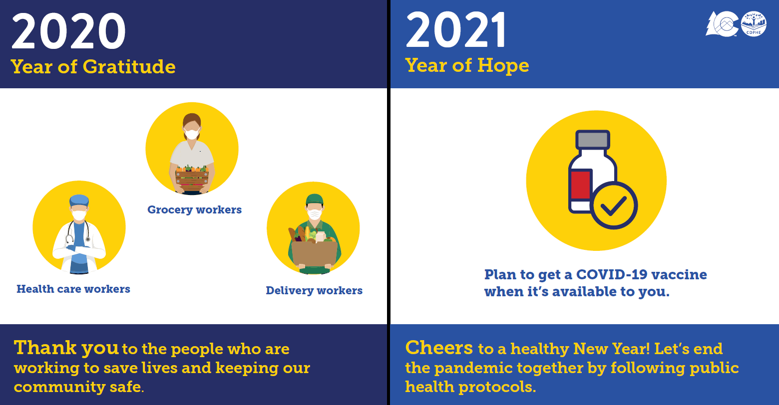 Graphic: 2020 Year of Gratitude. Side One: Image of a health worker,
