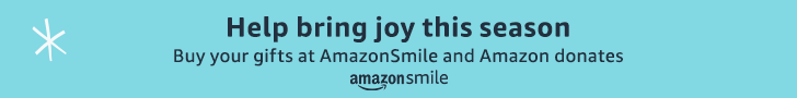 Help bring joy this season, buy your gifts at Amazon Smile and Amazon donates, amazon smile. BLue background with a single snowflake