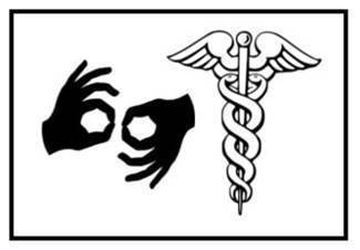 Two hands signing and a caduceus symbol