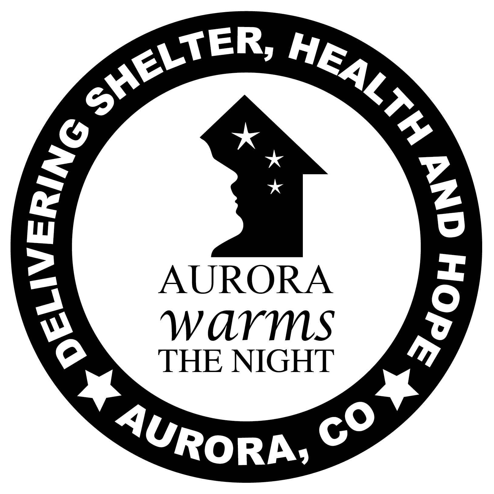 Aurora Warms the Night Logo with an outline of a face against a outline of a black house with three stars. Around the image are words that read, Delivering Shelter, Health and Hope, )image of a star) Aurora, CO (image of star).