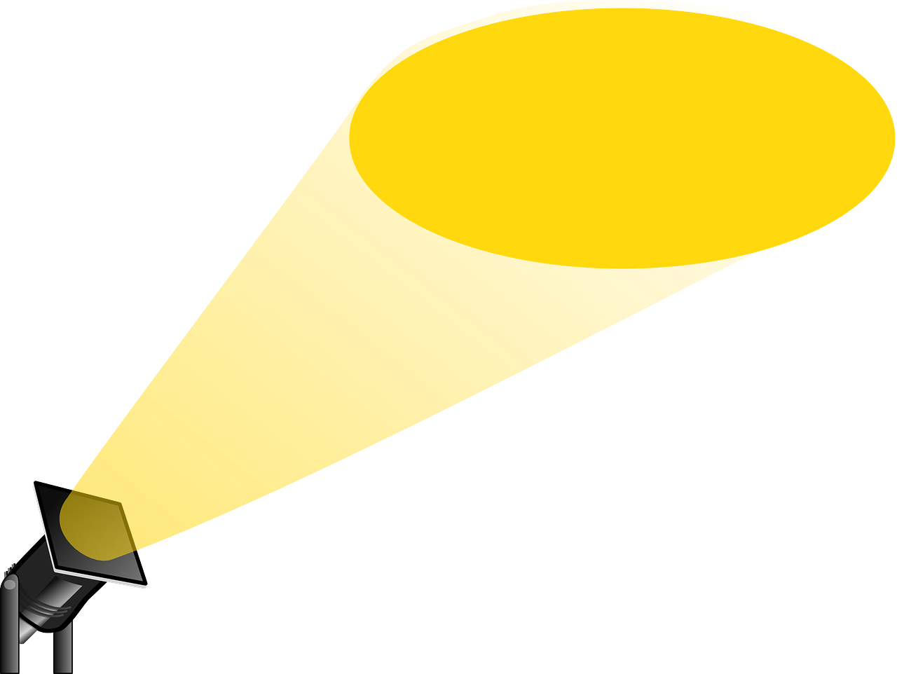 Picture of a yellow spot light pointing up