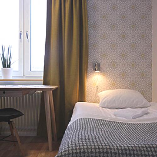 Nyrenoverade rum med sköna sängar