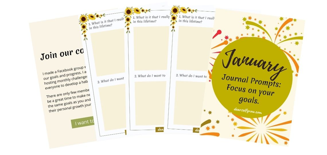 January Journal Prompts focusing on achieving your goals. 31 journal prompts