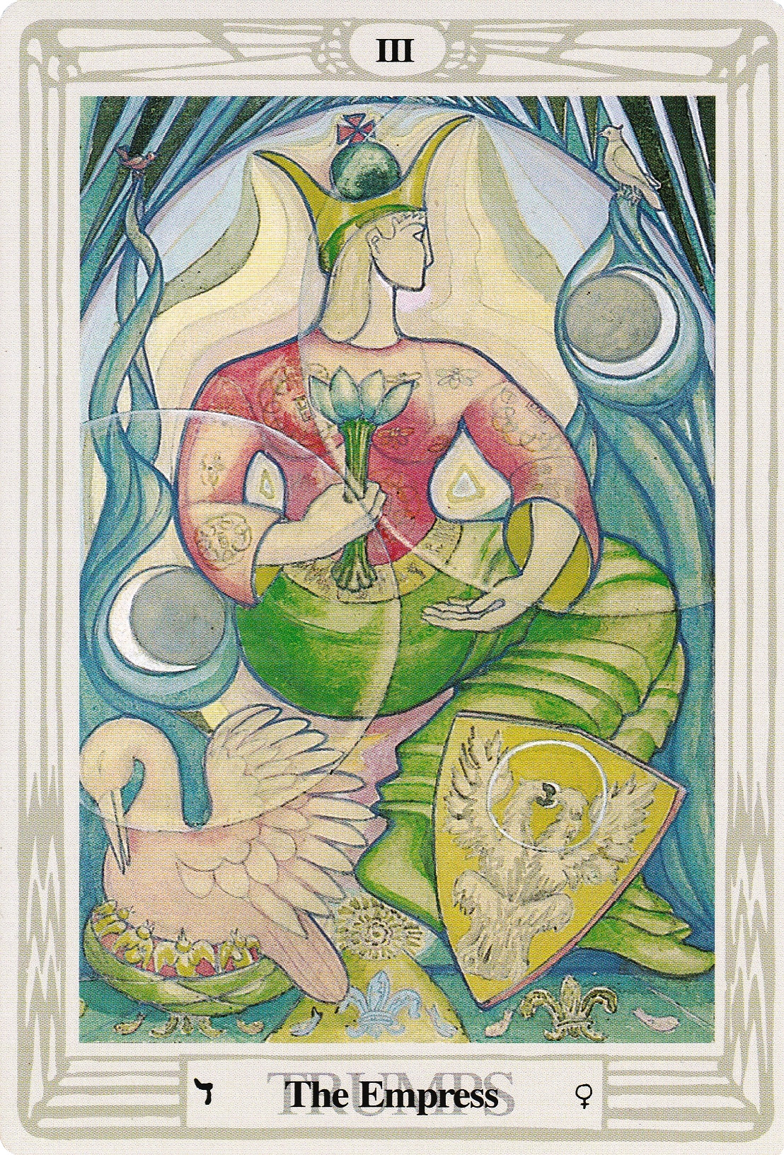 Original illustration from the Thoth tarot deck of The Empress as painted by Lady Frieda Harris.