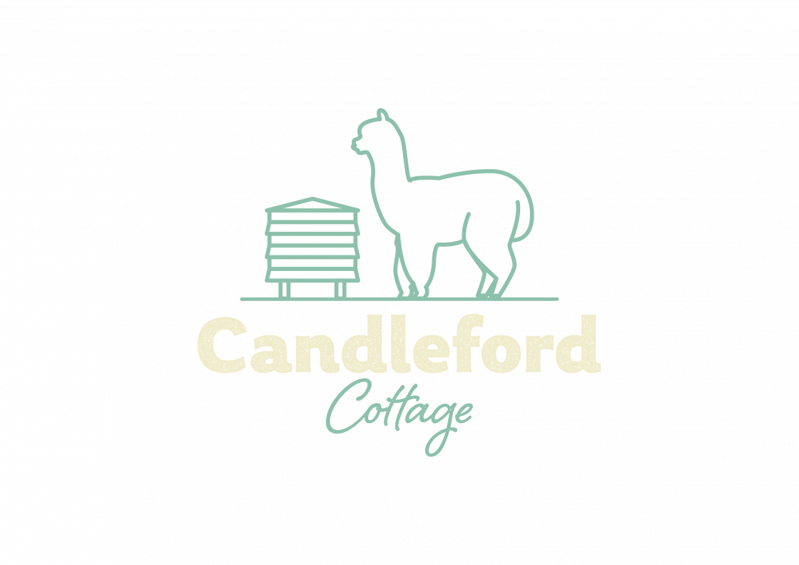 Candleford cottage logo, featuring brand name, bee hive and alpaca
