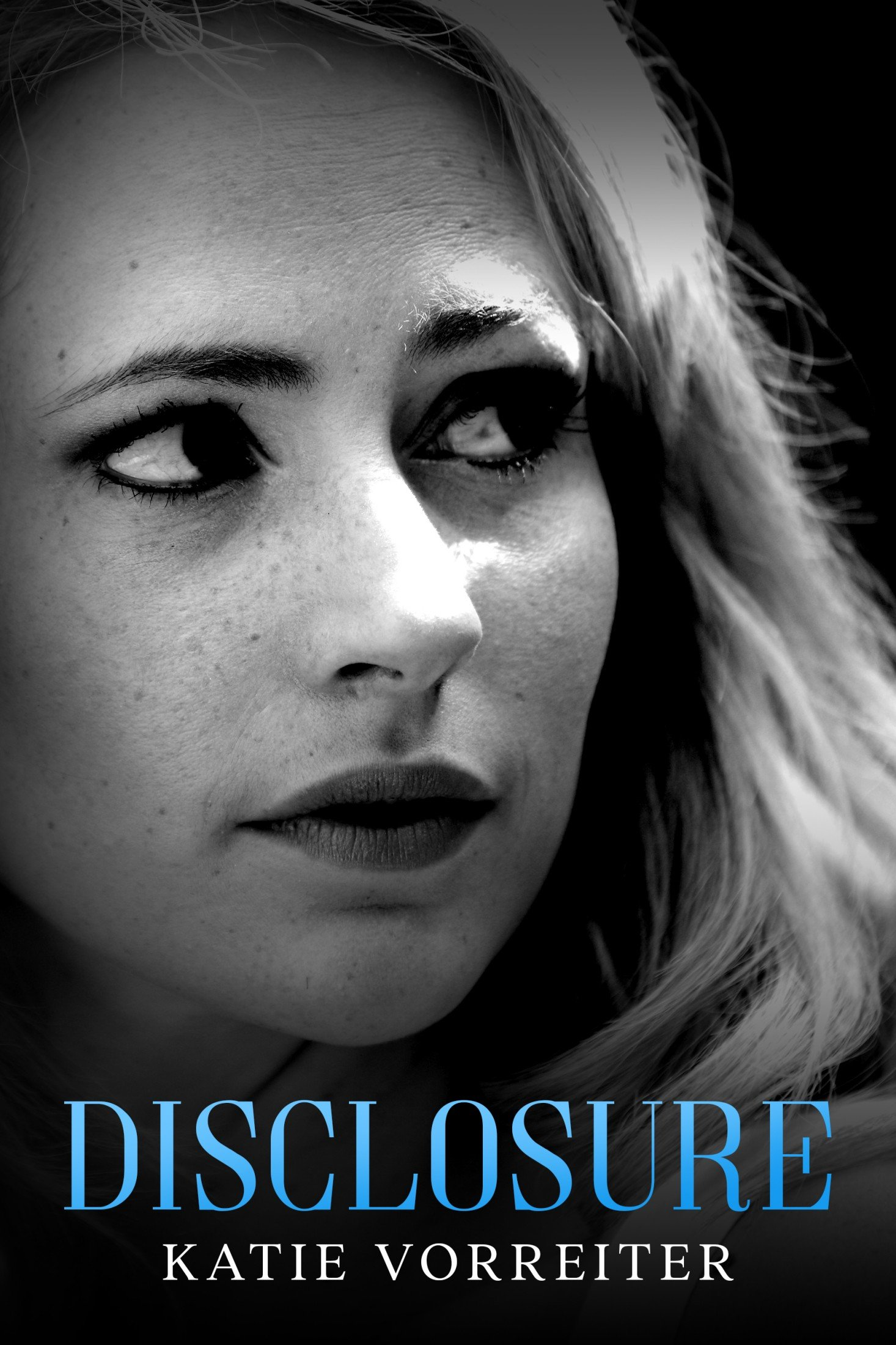 Book cover: young blond woman looking over her shoulder with concern