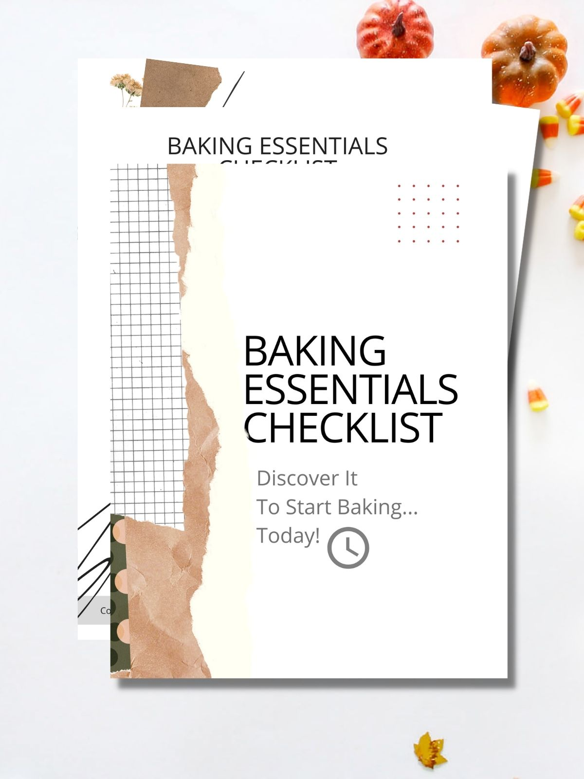 Four pages of the baking essentials checklist in the background