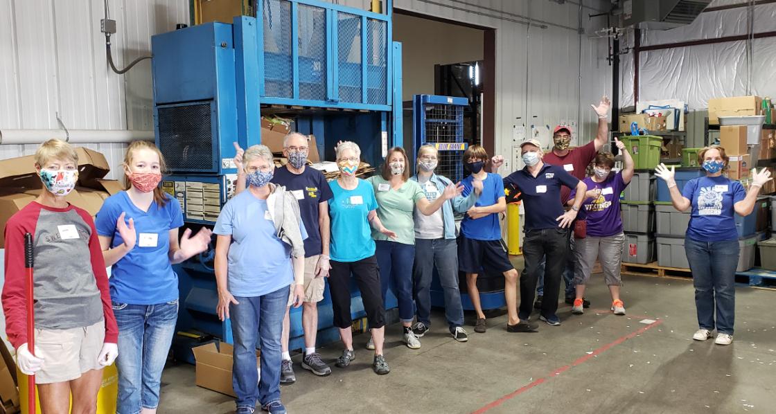 PHOTO: Volunteers at Food Share after bagging for KidsPak