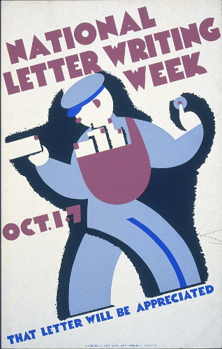 A 1930s Works Progress Administration poster, showing a stylized, abstract image of a mail carrier walking while holding out a letter. The caption reads,