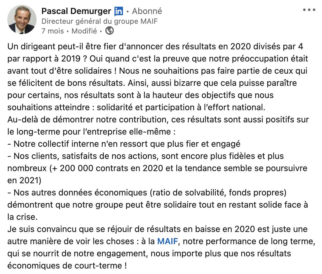 Extrait du compte LinkedIn de Pascal Demurger du groupe MAIF