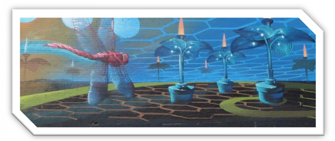 A fanciful mural with a giant dragonfly soaring towards blue-green trees with bright yellow candles atop them.