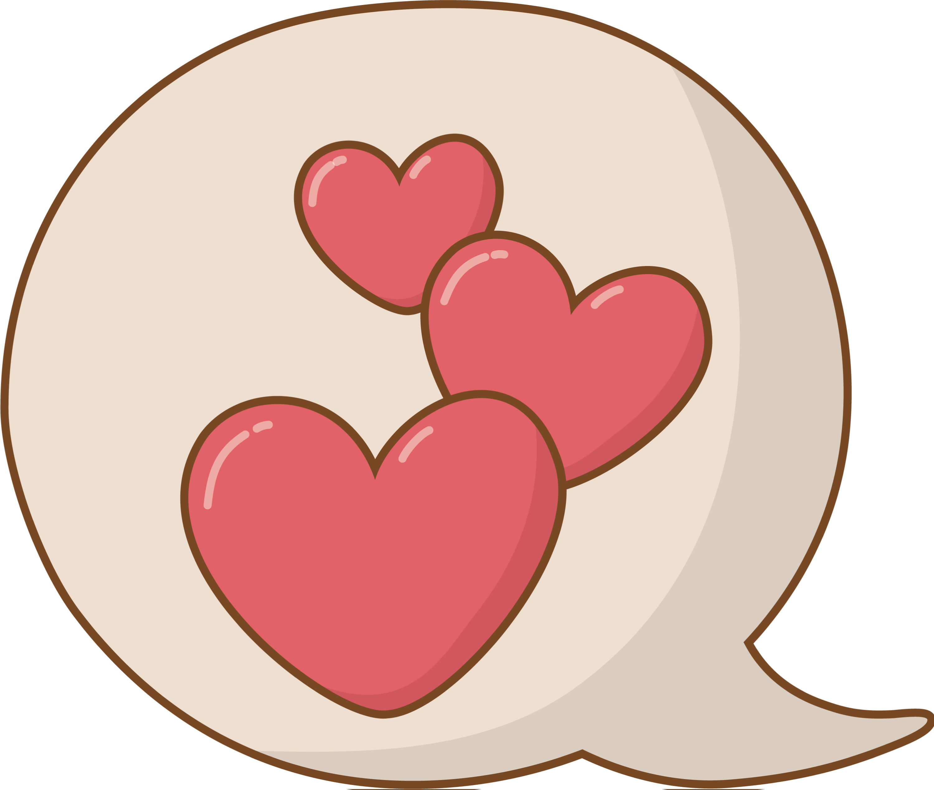 an oversized speech bubble with red hearts inside of it.