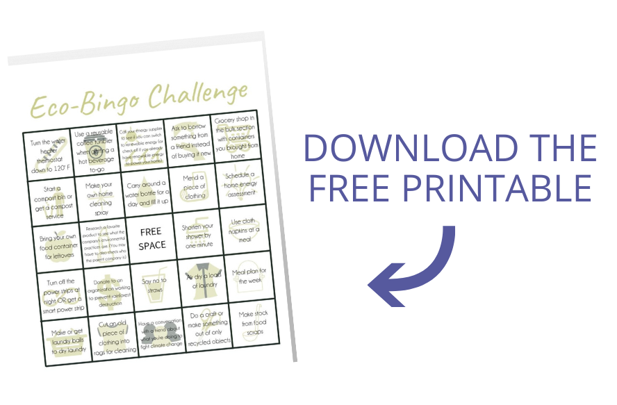 image of eco bingo with arrow pointing to it and text