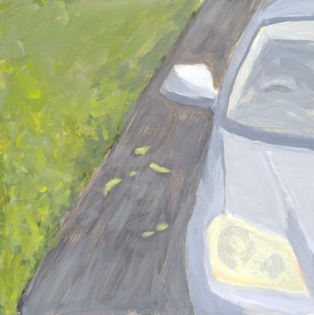 Painting of car on driveway
