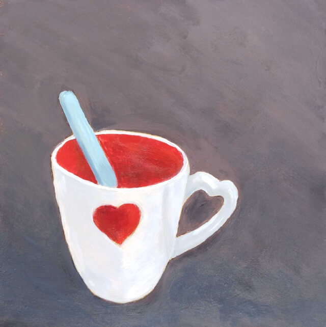 Painting of cup with spoon in it