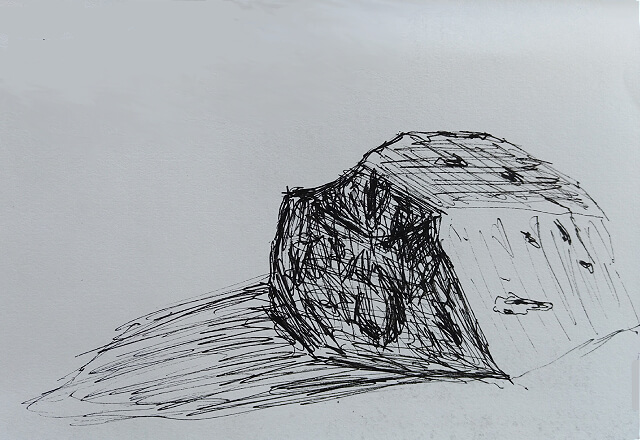 Pen drawing of a rock with a shadow
