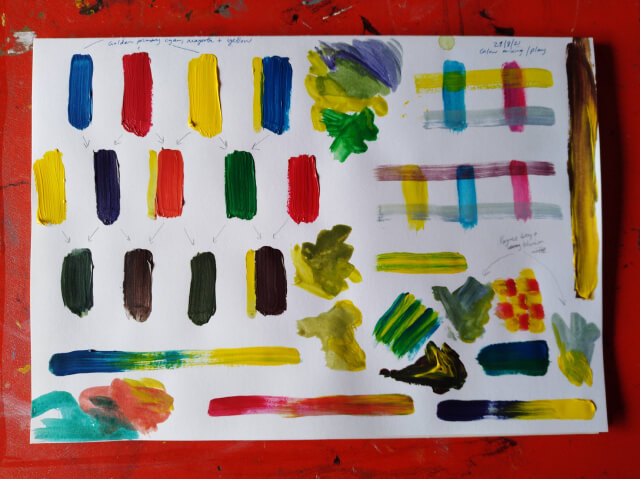 Colour mixing and play on a large pad