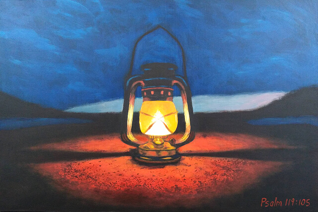 Painting of kerosene lamp with dark sky and hills in the background