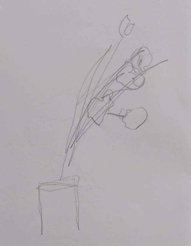 Blind-contour pencil sketch of fake flowers in a vase