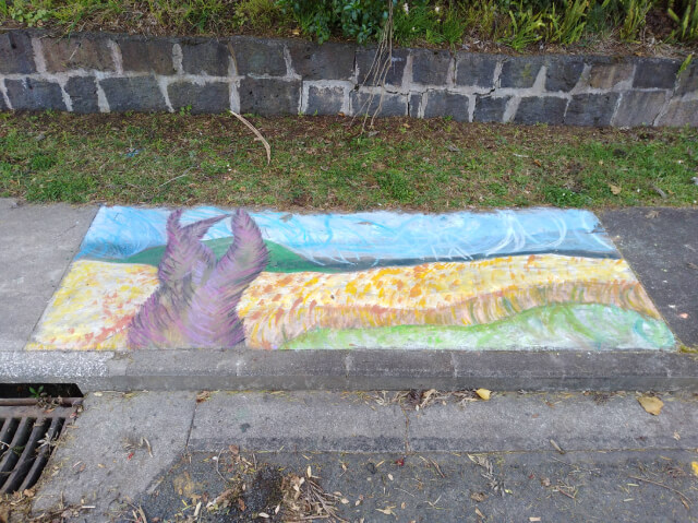 Chalk drawing on the footpath near our house