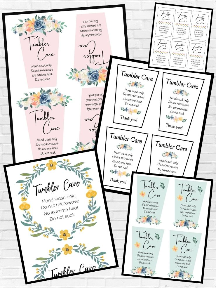 free printable tumbler care cards
