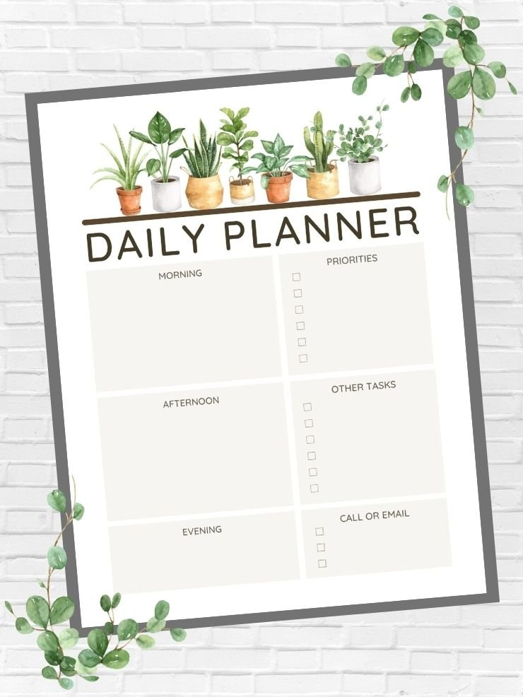 free printable daily plant-themed planner page