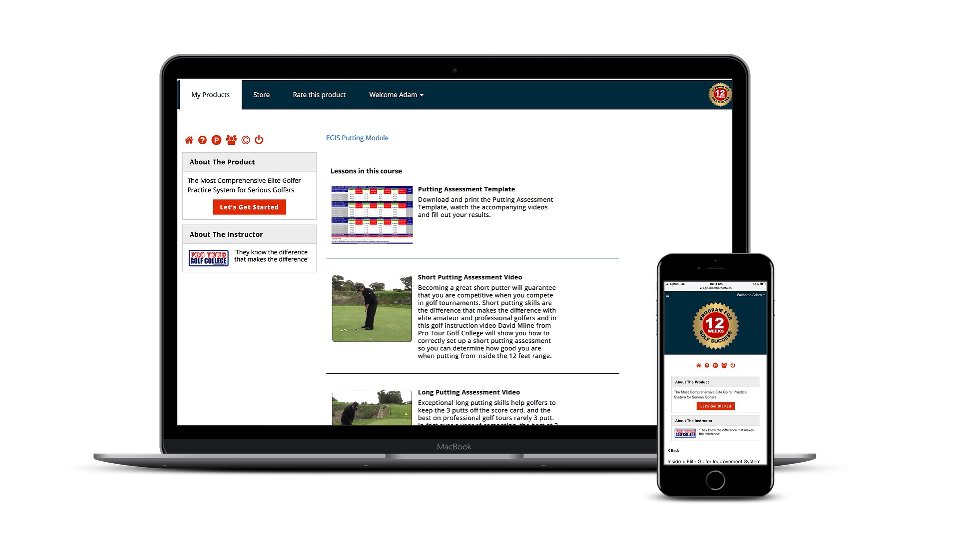 Elite Golfer Improvement System Membership Portal