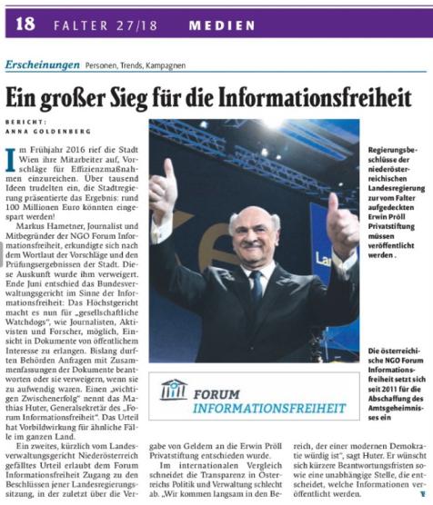 """Bericht der Wiener Wochenzeitung """"Der Falter"""""""