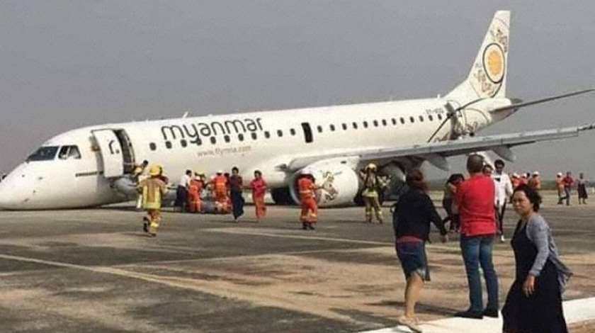 Myanmar Embraer E190 Lands Without Nose Gear