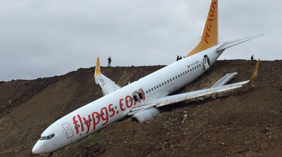 Pegasus B738 Skids off Runway Stopping Just Feet From the Sea