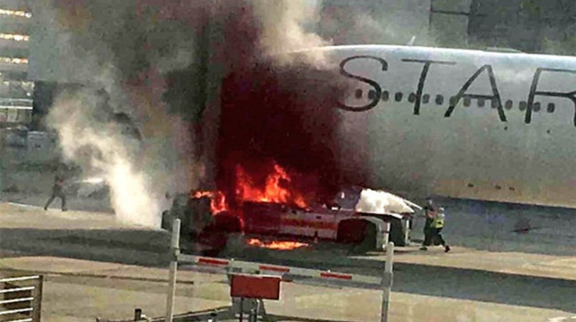 Star Alliance A340 Blackened by Flames at Frankfurt Airport