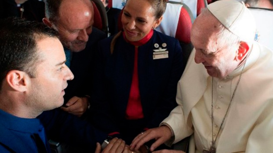 Pope Francis Marries LATAM Cabin Crew Couple During a Flight