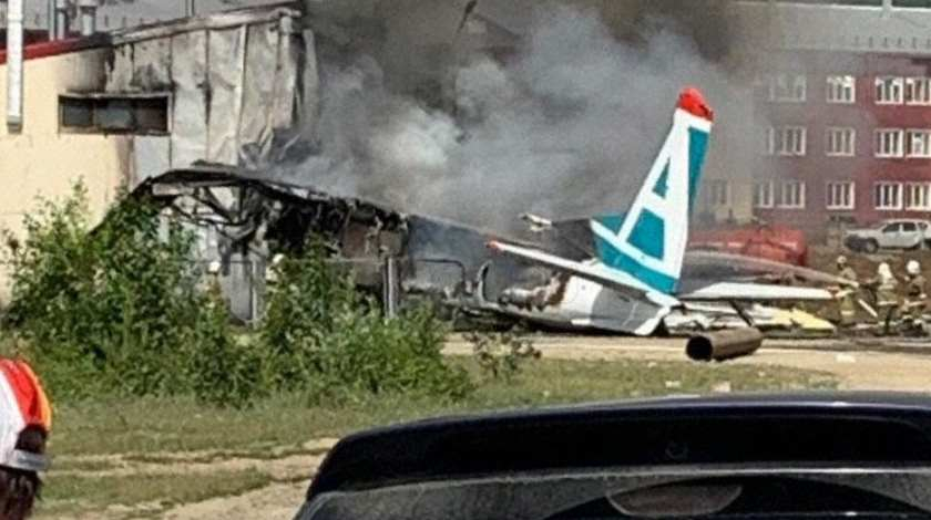 Angara Airlines Antonov AN-24 Collides with Building