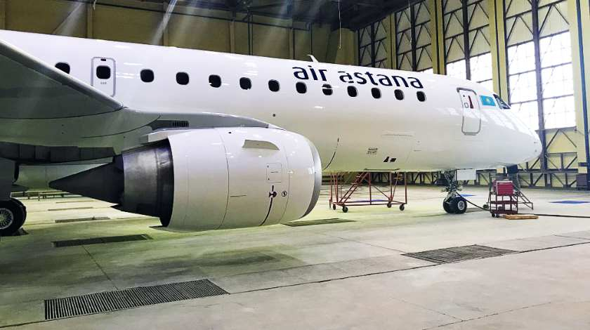 S7 Technics: Newly Painted Livery for Air Astana Embraer E190