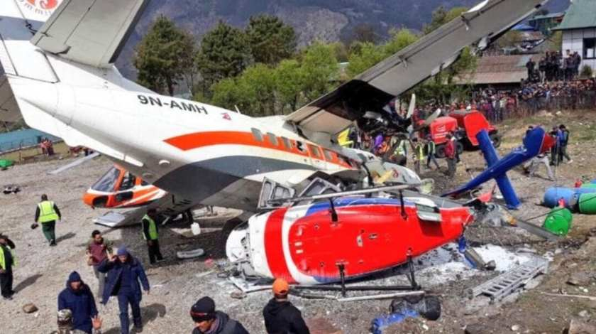 Summit L-410 Veers off Runway and Collides with Two Helicopters