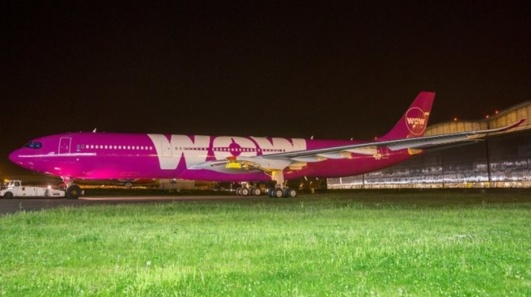 A330neo Rolls out of Paintshop in WOW Air Colours