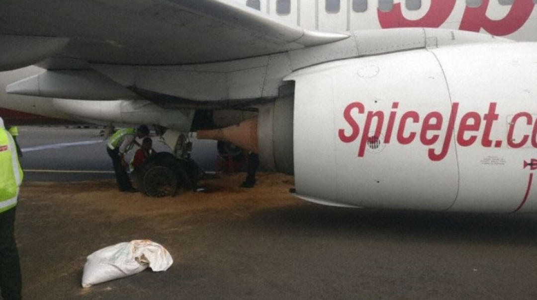 Spicejet Boeing 737 Bursts One Tyre on Departure Another on Landing