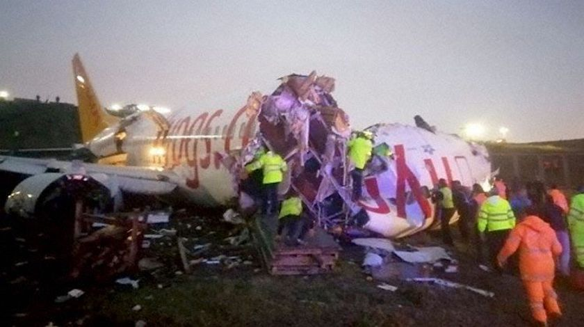 Pegasus Airlines Plane Skids off Runway and Breaks into Parts