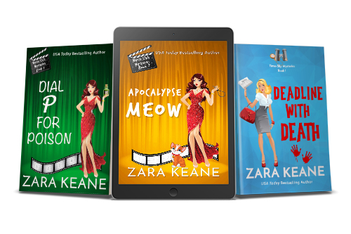 A promotional image with three of Zara Keane's mystery book covers. The image includes the print covers of 'Dial P For Poison' and 'Deadline With Death', as well as an reader featuring the ebook cover of 'Apocalypse Meow'.