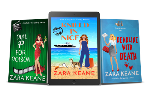 A promotional image with three of Zara Keane's mystery book covers. The image includes the print covers of 'Dial P For Poison' and 'Deadline With Death', as well as an ereader featuring the ebook cover of 'Knifed in Nice'.