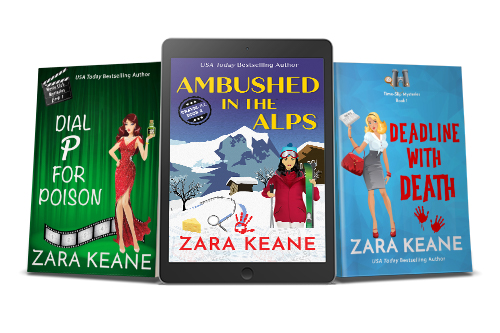 A promotional image with three of Zara Keane's mystery book covers. The image includes the print covers of 'Dial P For Poison' and 'Deadline With Death', as well as an ereader featuring the ebook cover of 'Ambushed in the Alps'.