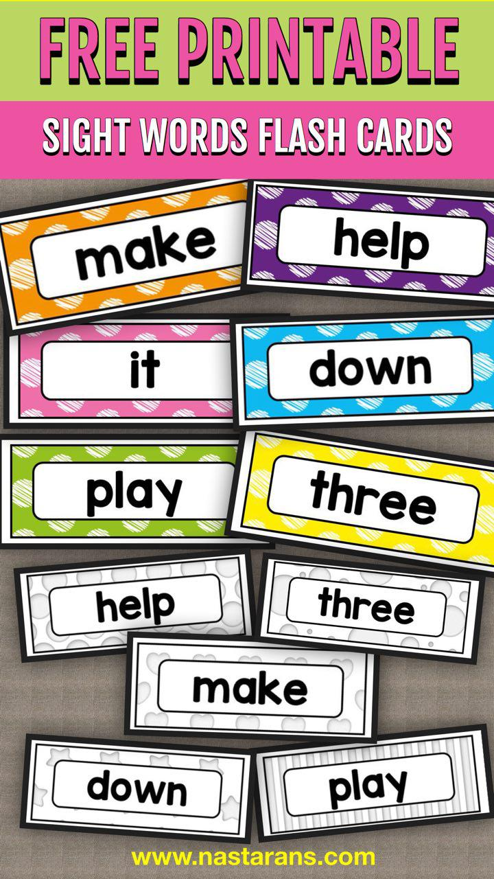 Ambitious image for free printable sight word flashcards