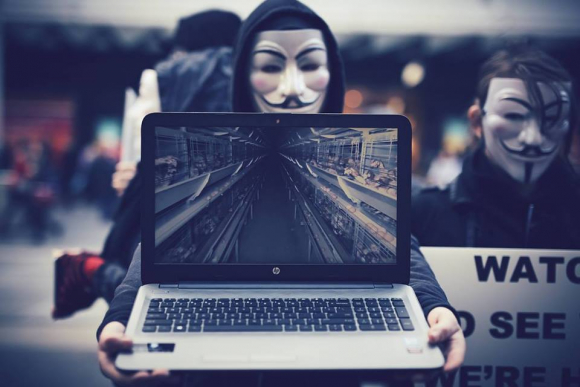 Masked figure holds a laptop