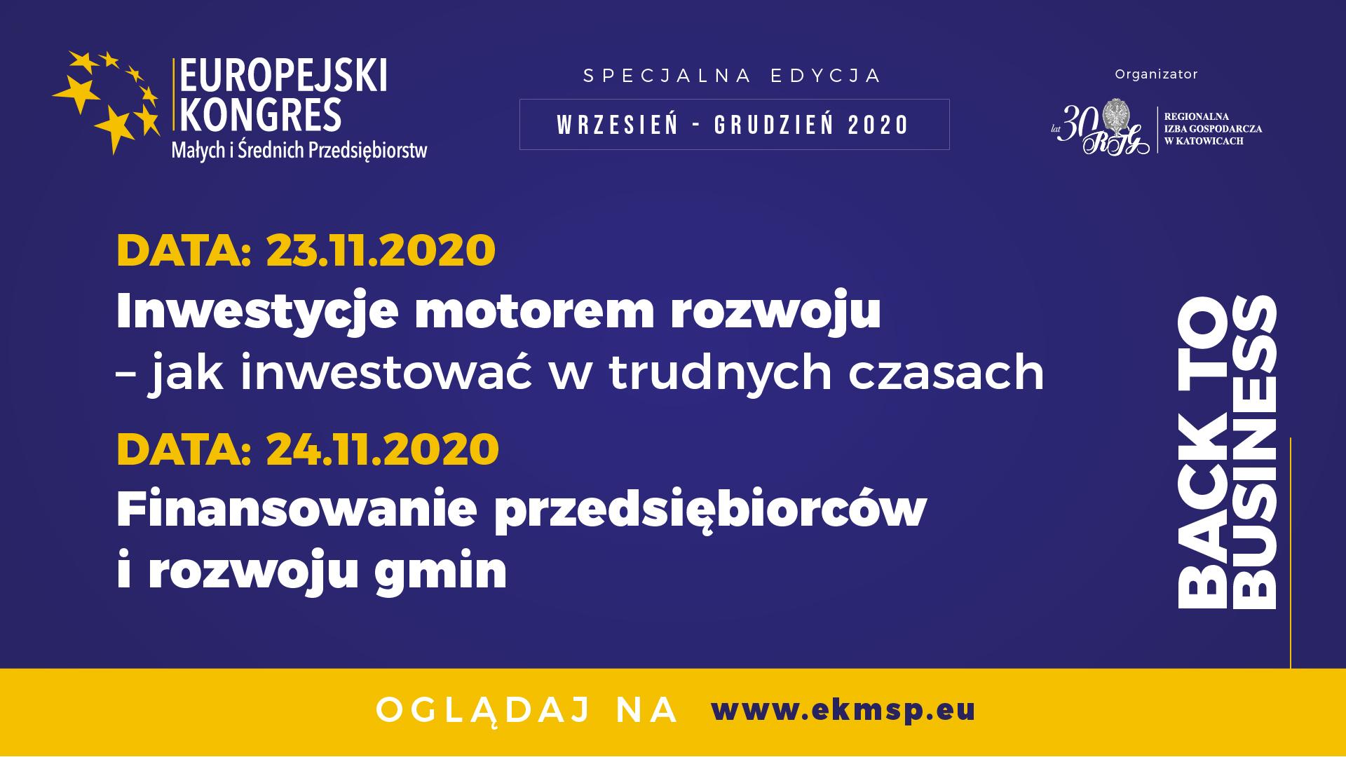 Europejski Kongres MŚP - 23 i 24 listopada