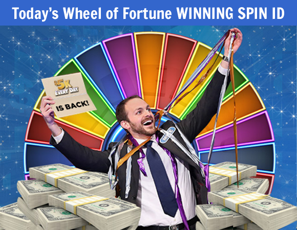 "Here is Today's Wheel of Fortune ""Wheel Watchers Club"" WINNING SPIN ID. Today's winner receives $5,000 in cash! Make sure you enter now and come back here daily to see who wins!"