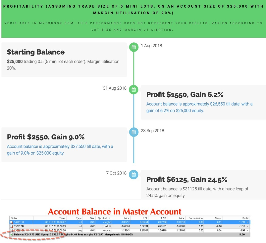 Month to month profitability for copy our robot 24.5% gain